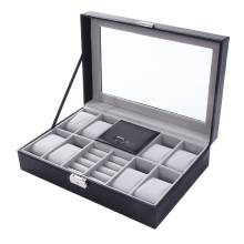 2 In One 8 Grids+3 Mixed Grids PU Leather Watch Box Storage Organizer Case Jewelry Rings Bracelet Display Boxes Black P15