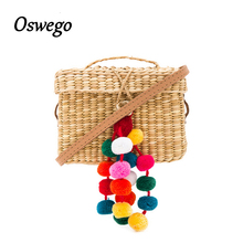 Colorful Ball Decoration Women Summer Beach Bag Cover Basket Shape Straw Bag For Travel Handmade Rattan Bag sac paille(China)