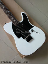 Factory direct Telecast electric Guitar white color string through the body locking knobs high quality with signature free ship