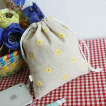Daisy Linen Gfit bag 9x12cm pack of 50 Baby Shower Birthday Party Wedding Favor Holder Cotton Packaging Pouch(China)