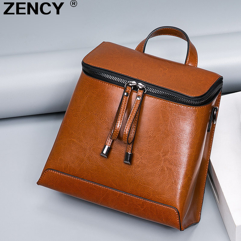ZENCY Summer Genuine Oil Wax Cow Leather Women Ladies Backpack Cowhide Designer Korean Style Fashion Ladies Girl Bag Mochila<br>