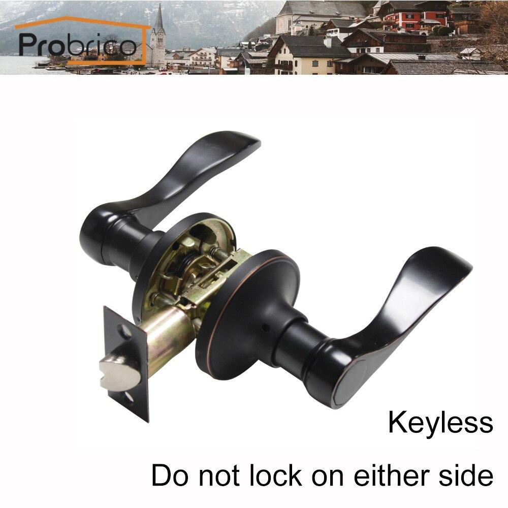 Probrico Passage Keyless Lever Door Lock Bathroom Stainless Steel Oil Rubbed Bronze Door Handle For Interior Door DL12061ORBPS<br>