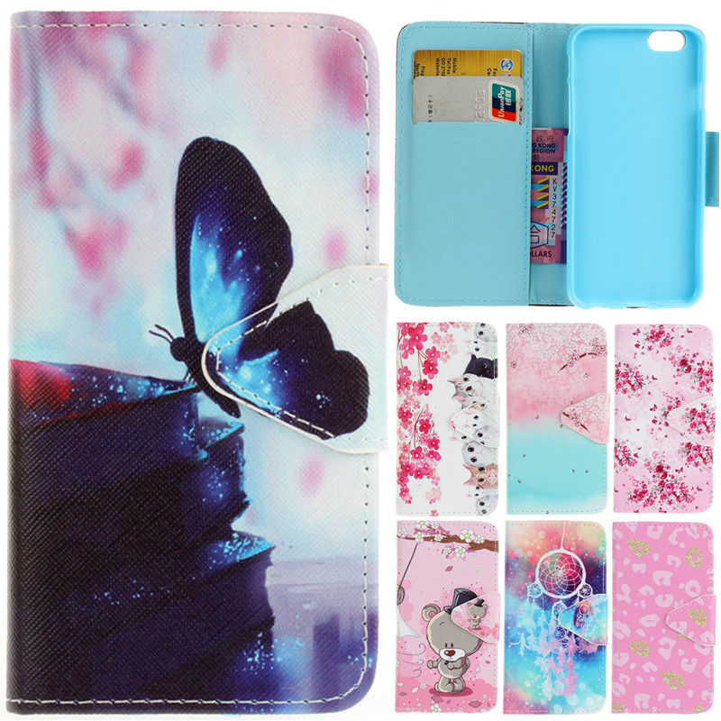 Luxury Cartoon Butterfly Flower Cat Leather Flip Fundas font b Case b font For Apple font