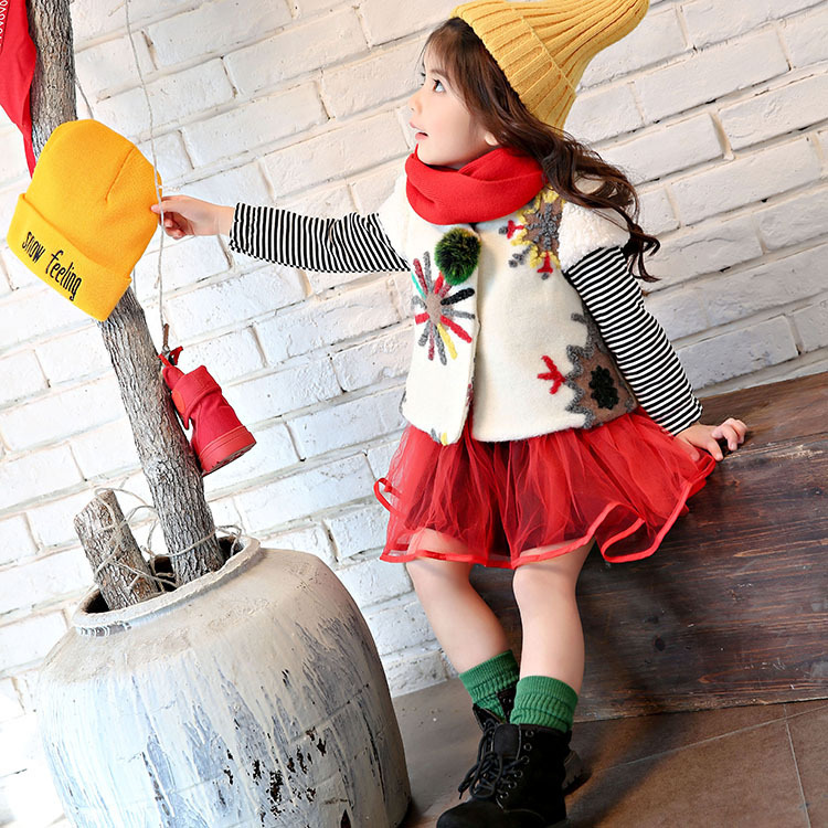 2017 new year Korean girl bright color embroidery sun striped coat with veil vest skirt 2 sets<br>