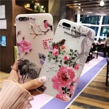 New 3D Relief Rose Peach Flower Letter Animal Case For iphone 7 6 6s 5 se 5s soft TPU Phone Back Cover For iPhone 7 6 6s Plus