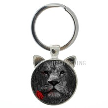 Vintage rose keychain retro style animal art picture glass cabochon key chain ring holder cool men keyring gifts CN661(China)