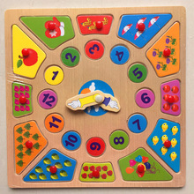 Wooden Clock Early Learning Puzzles Building Toys for Children montessori educational Digital Geometry Clock Building Puzzle Toy