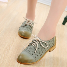 British Retro Women Shoes Newest Fashion Brogue Brush Color Lace Up Oxford Shoes For Women Ladies Hollow Cut-Outs Casual Flats