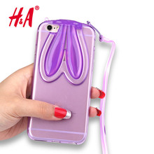 Lovely Fashion Cute Transparent Soft Silicone TPU Rabbit Ears Lanyard Back Stand Case Cover for iPhone 6 6S 5 5S 7 7 Plus