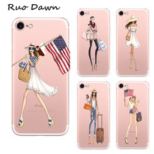 Ruo Dawn Fashion Girl Mobile Cover For iphone 6 6S Plus Soft Rubber Cartoon Phone Cases High Quality Transparent Protection Capa