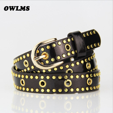 Fashion women's leisure rivets belt paint belts female thin leather gold buckle jean belt candy color Ceintures de femme gifts
