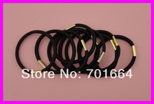 50PCS 4mm thickness 14.0cm length black elastic pony tail holders with golden metal button connection(China)