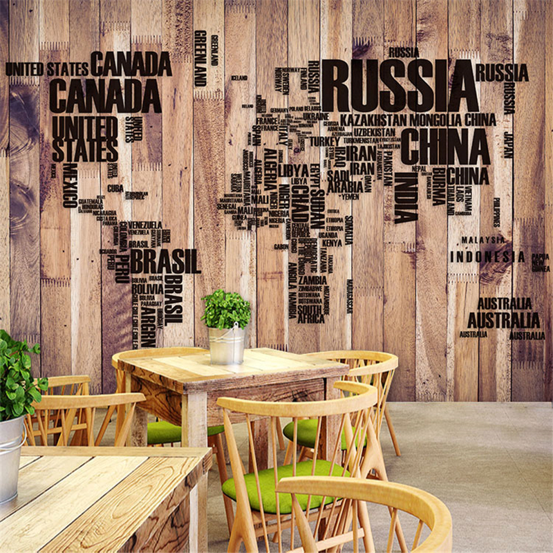 3D European perspective plank striped wallpaper large letters of the alphabet theme restaurant hotel cofe bedroom wall painting<br><br>Aliexpress
