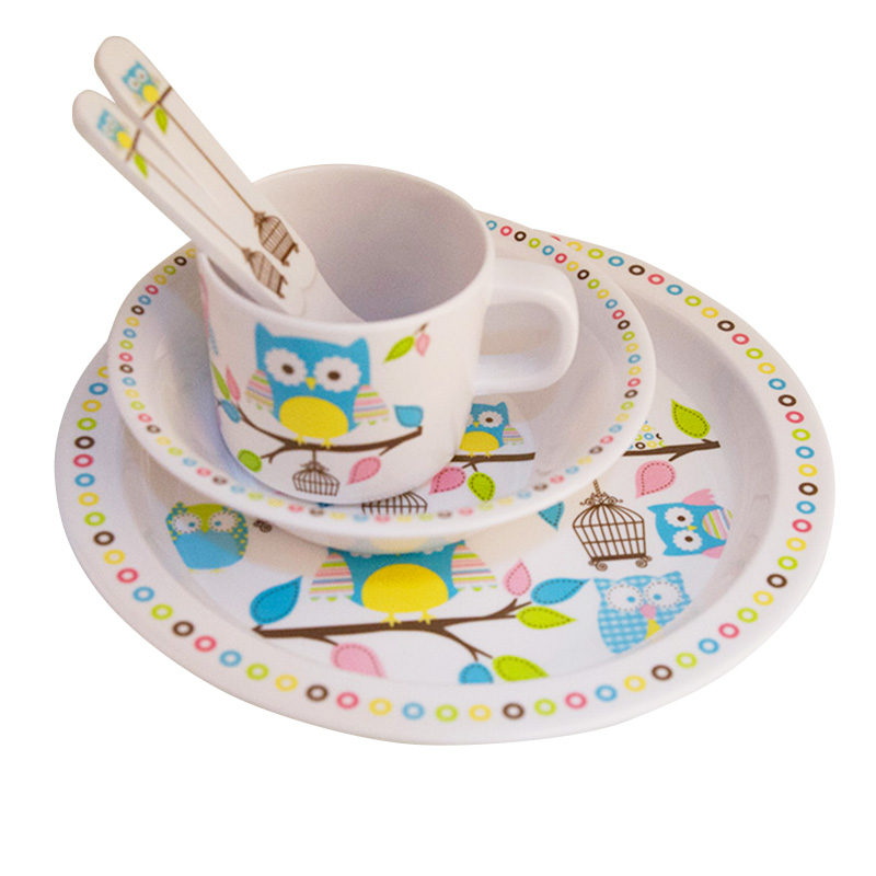 Baby Feeding Dishes Set Bowl Plate Forks Spoon Cup Children's Tableware Melamine Dinnerware Feeding Set For Kids Dishes Plate (5)