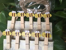 120pcs Bee Design Wooden Clothespin Clips Party Decoration Baby Shower Place card Wooden Pegs for Children's Party Gift Favors