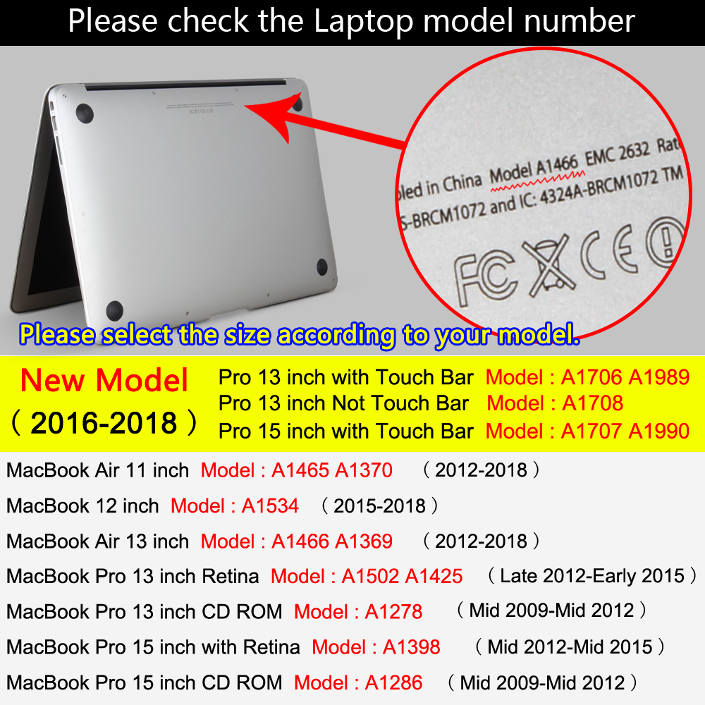 Case for MacBook Air 11/13.3 inch for APPLE MAC Pro with Retina 12 13.3 15 &2016 new model A1706/A1707/A1708
