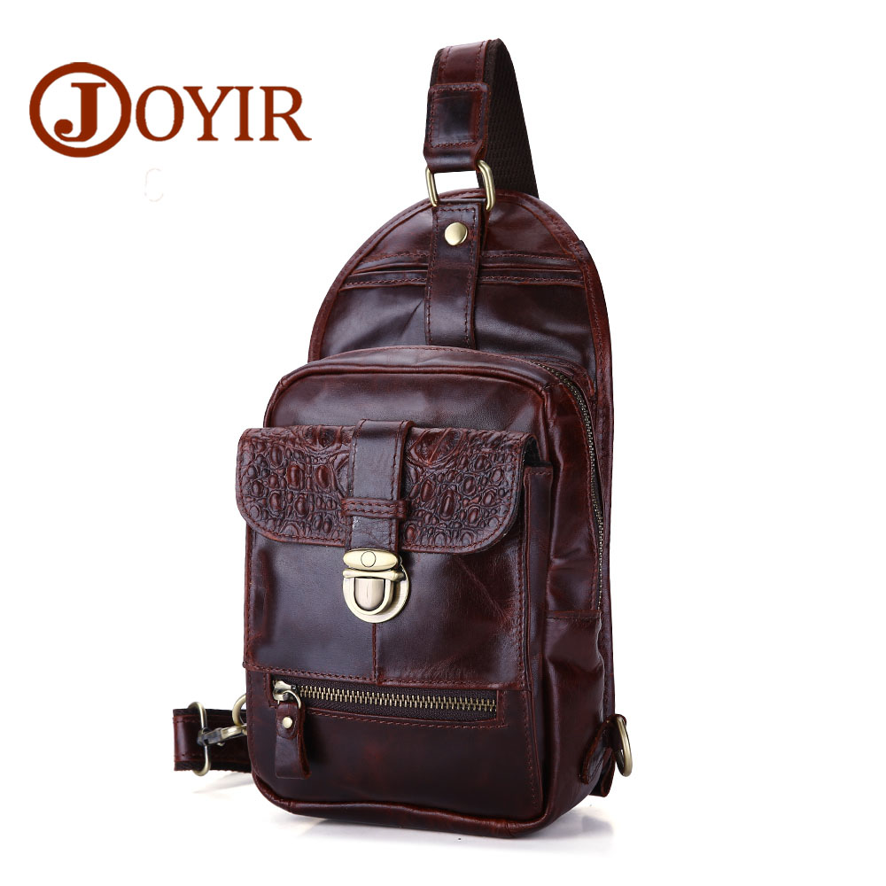 JOYIR New Arrival Genuine Leather Alligator Pattern Chest Pack Crossbody chest bag casual small shoulder bag for male bag1306<br>