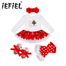 2017 New Christmas Baby Costumes Cloth Infant Toddler Baby Girls My First Christmas Outfits Newborn Christmas Romper Set(China)