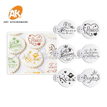 Valentine Cookie Stencil Set Cake Tools Cupcake Stencil Template Cake Decorating Tools Kitchen Accessories Pastry Tools ST-864(China)