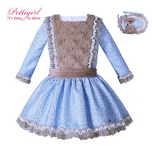 Pettigirl Girl Faux Fur Autumn Winter Dress Vintage Lace Dress Children Pageant Party Clothing With Headband G-DMGD006-B67(China)