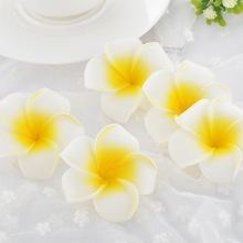 FUNIQUE 25PCs Plumeria Hawaiian Foam Frangipani Artificial Flower Headdress Flowers Wedding Party Decoration 5.5mx5.5cm(China)