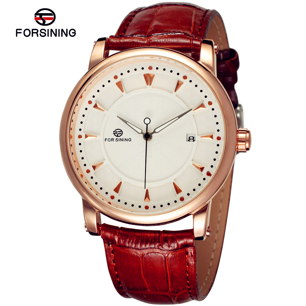 Fashion FORSINING Men Luxury Brand Calendar Leather Strap Watch Automatic Mechanical Wristwatches Gift Box Relogio Releges 2016<br><br>Aliexpress
