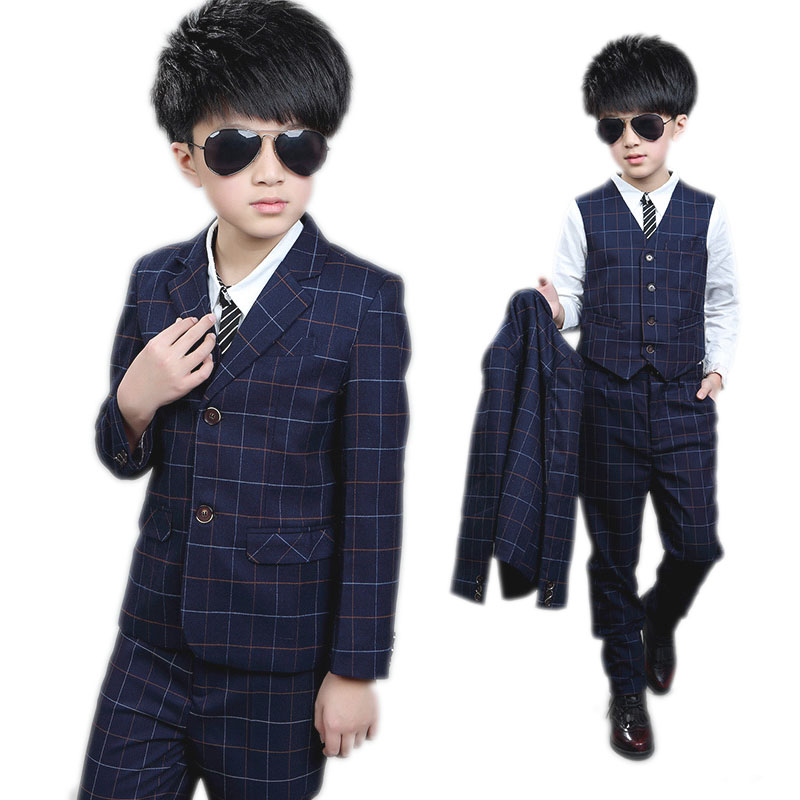 children clotheing big boy clothes sets Boy spring suit plaid blazer jackets+vest+pants boys formal dress Boys gentleman suits<br>
