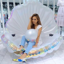 Giant Pearl Scallops Inflatable Pool Float Shell Mattress Lounger With Handle And Pearl Ball Water Sofa Party Toys Swimming Ring(China)