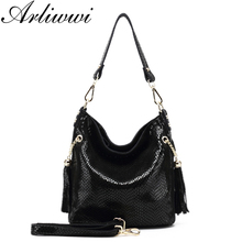 Arliwwi Brand Designer New Real Leather Shiny Snake Pattern Embossed Female Shoulder Bags High Quality Women Everyday Handbags(China)
