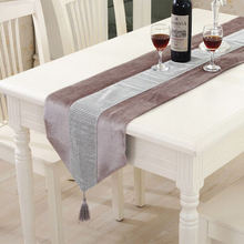Modern Table Runner Flannel Diamond Table Marriage Runners Chirstmas Decoration Purple Golden Table Runner(China)