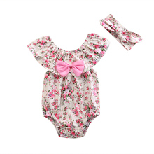 Newborn Toddler Baby Girl rural Print Bodysuit +Headband Lace Double Collar Bay Girl Sunsuit Outfits(China)