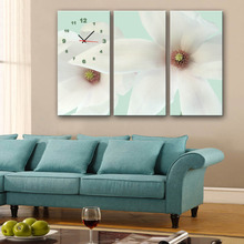 Free Shipping E-HOME White Flowers Clock in Canvas 3pcs wall clock