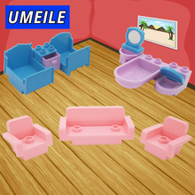 UMEILE Brand 10Pcs/set Original City Princess Girl Friend Bed Drawer Sofa Wash Tub Big Block Baby Toys Compatible with Duplo(China)
