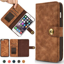 REFUNNEY Non-slip Cortex Retro Detachable 2 in 1 Leather Wallet Case for iPhone 5 5s Se 6 6s 7 Plus Phone Cover Coque Capinha