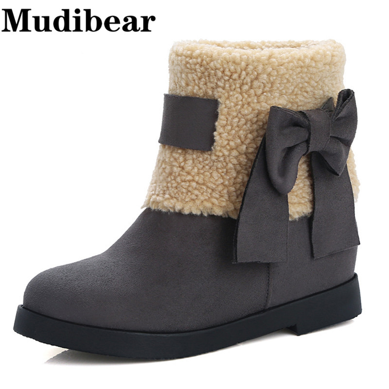 Mudibear Winter warm Woman snow boots female butterfly knot Height Increasing Med-Calf students short boots gray red black shoe(China (Mainland))