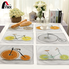 Cute Cartoon Fruit Bike Pattern Table Mat Table Napkin For Wedding Table Mat Placemat Kitchen Decoration Dining Accessories(China)