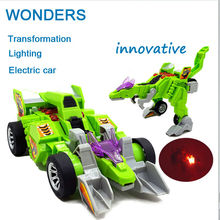 Promotion, Dinosaur Transformation electric car sound and lighting Multi-functional toys Robot Model Gifts For children(China)