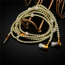 Luxury Diamond earphone Crystal Pearl In-Ear Earphone Bling Stereo Subwoofer With Mic For iphone 6 6s Plus samsung Microphone(China)