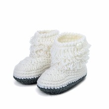 Handmade Crochet Baby Shoes Girls Knitted Tassels Ankle Baby Boots Toddler Girl Boy Wool Snow Crib Shoes Socks Booties T0081(China)