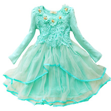 Fashion high quality crochet lace kids designer clothes 2017 children's dresses lonf sleeve 1 to 5 year old girl dress