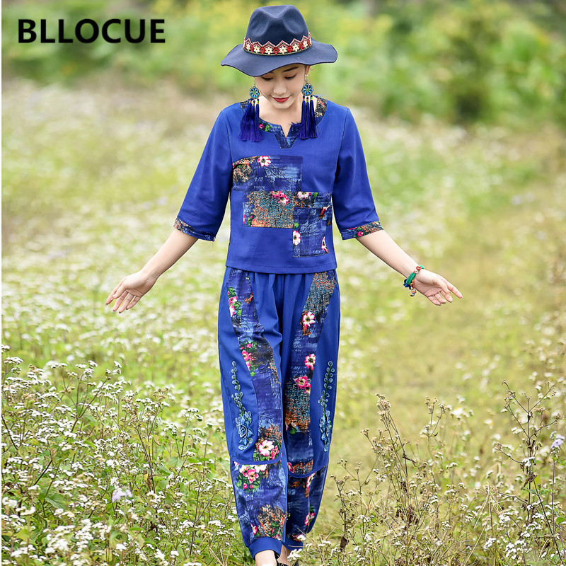 BLLOCUE New Two-Piece 2019 Summer Women's Chinese Style Printing T-shirt Lantern Wide Leg Casual Pants Comfortable Suit
