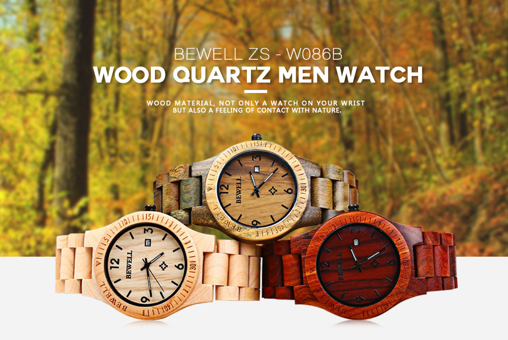 2017 BigBen Bewell Luxury Brand Wood Watch Men Analog Natural Quartz Movement Date Male Wristwatches Clock Relogio Masculino (2)
