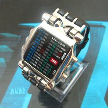 hot New LED Light Fashion Dot Matrix Digital Mens WATCH NR freeship(China)