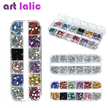 3600 Pcs 3D Clear Silver 2mm Round Mix Teardrop Heart Nail Art Sticker Gems Rhinestones Deco Glitters Nail Decoration(China)