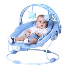 Free shipping Blue luxury baby cradle swing electric baby rocking chair chaise lounge cradle seat rotating baby bouncer swing(China)