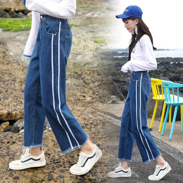 Loose Jeans Women Summer High Waist Casual Jeans Woman Fashion Side Striped Plus Size Straight Ladies Denim Pants Ankle Length