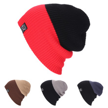 Sale Striped Wool Knitted Beanies Hats Gorros Skullies New Casual Men Women Elastic Unisex Hat Black Red Gray Winter Cap LZ117