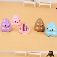 1Pcs New Shit Pencil Sharpener Cutter Knife Double Orifice Double Pole Piece Gift School Stationery H2322