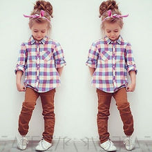 NEW Fashion plaid baby girls Shirt spring autumn Long Sleeve kids Tops Button Down Blouse