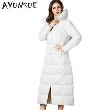 2017 Euro-Star Fashion Parka Winter Coat Women Thick Long White Goose Down Jacket Parkas For Women Winter Warm Jacket CP0141